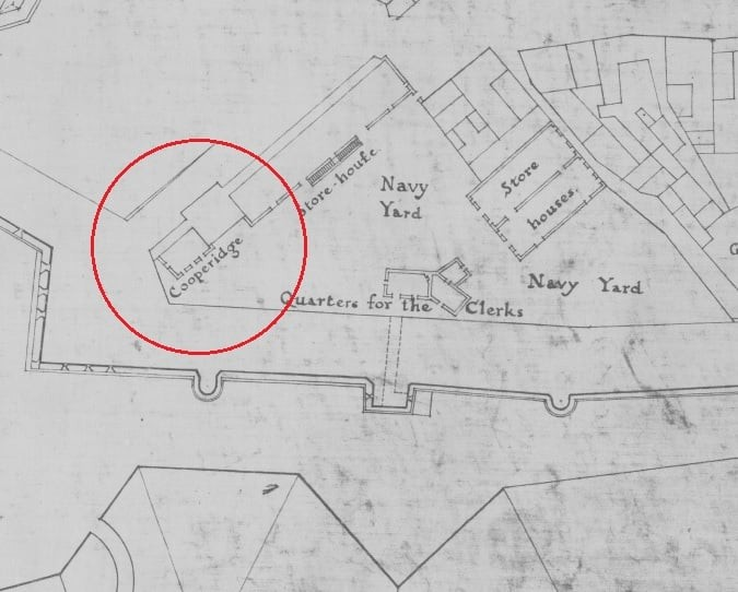 Section of the 1753 map of Gibraltar showing a 'cooperidge' where the International Commercial Centre (ICC) is today. North is to the left.